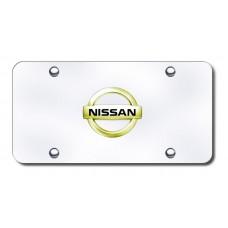 Nissan Logo Gold on Chrome License Plate