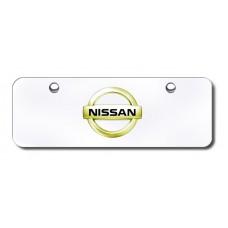 Nissan Logo GLD/CHR Mini License Plate