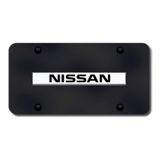 Nissan Name Chrome on Black License Plate