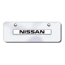 Nissan Name Chrome on Chrome Mini License Plate