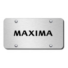 Maxima Laser Etched on Brushed Stainless Steel License Plate
