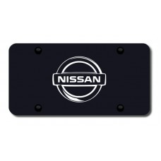 Nissan Logo Laser Etched on Black License Plate