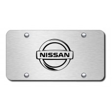 Nissan Logo Laser Etched on Brushed Stainless Steel License Plate