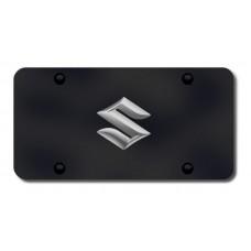 Suzuki Logo Chrome on Black License Plate