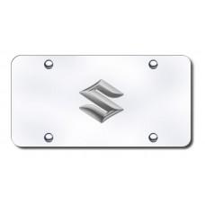 Suzuki Logo Chrome on Chrome License Plate