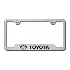 toyota laser etched brushed stainless cut out license plate frame