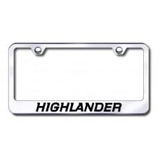 Highlander Laser Etched Chrome Metal License Plate Frame