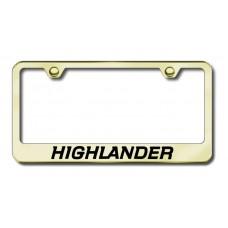 Highlander Laser Etched Gold Metal License Plate Frame