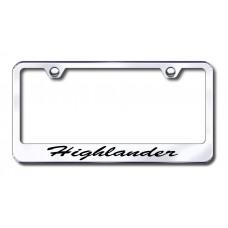 Highlander Script Laser Etched Chrome License Plate Frame
