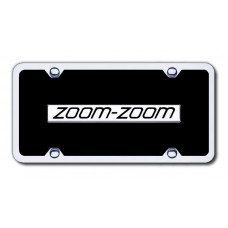 Zoom-Zoom Chrome/Black Acrylic License Plate Kit