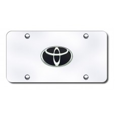 Toyota Logo Black/Chrome on Chrome License Plate