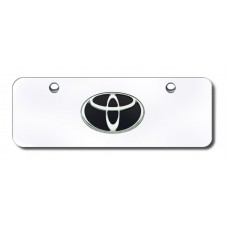 Toyota Logo Black/Chrome on Chrome Mini License Plate