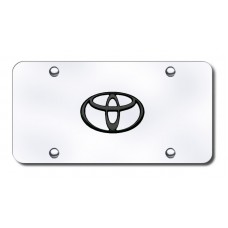 Toyota Logo Black on Chrome License Plate