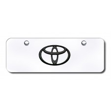 Toyota Logo Black on Chrome Mini License Plate
