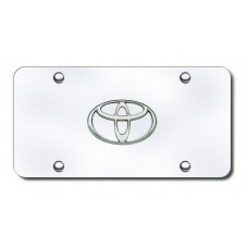 Toyota Logo Chrome on Chrome License Plate