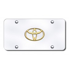 Toyota Logo Gold on Chrome License Plate