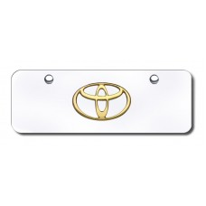 Toyota Logo Gold on Chrome Mini License Plate