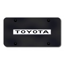 Toyota Name Chrome on Black License Plate