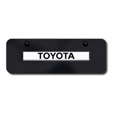 Toyota Name Chrome on Black Mini License Plate