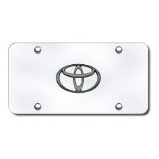 Toyota Logo BlkPearl on Chrome License Plate
