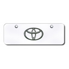 Toyota Logo BlkPrl on Chrome Mini License Plate