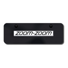 Zoom-Zoom Name Chrome on Black Mini License Plate