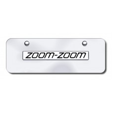 Zoom Zoom Name Chrome on Chrome Mini License Plate