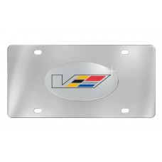 Cadillac - V Logo Colored - Chrome Plated Brass Emblem Attached To Stainless Plate