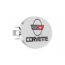 Corvette C-4 Engraved Chrome Plated Brass Oval Hitch Cover With Red& Black Imprint Color Fill. W/ 1.25'' Ht1.2 - 3 Hole Post Rec. - Box 137 W/Components