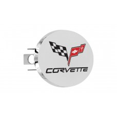Corvette C-6 Engraved Chrome Plated Brass Oval Hitch Cover With Red & Black Imprint Color Fills, 1.25' Recvr. Ht1.2 - 3 Hole Post With Components