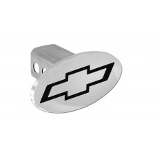 Chevrolet Bowtie(Black) - Chrome Plated Brass Oval Hitch Cover W/ 2' Rec. - W/Components