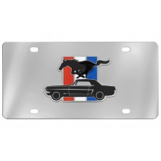 Ford - 2d Mustang And Pony Cut Out Emblem With Tri-Color Bar Attached To A Stainless Steel Plate