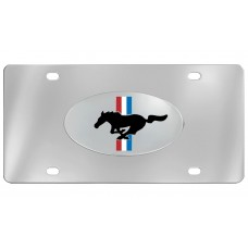 Ford - Pony Black Engraved W/ Rwb Background Emblem Attached To Stainless Steel Plate