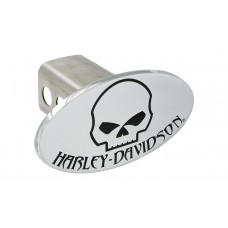 "2"" Post Hitch Cover With Chrome Oval Skull & Harley-Davidson Emblem."