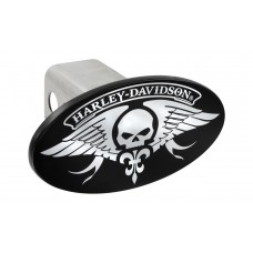 Std.Hitch Cover-W/Hd & Skull Wings-Chrome Imprint On Black