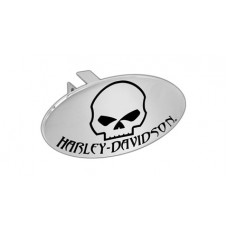 "Mini 1.25"" Post Hitch Cover- Mounted With Chrome Oval Skull & Hd Emblem."