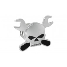 "Mini 1.25"" Post Hitch Cover - Skull With Dual Crossed Wrenches Emblem"