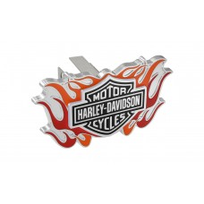 "1.25"" Mini Hitch Cover- With 2 Color Flames, B&S Logo Emblem"