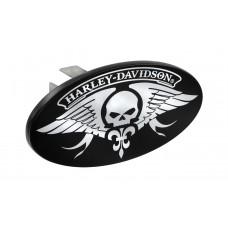 "1.25"" Mini Hitch Cover-W/Hd & Skull Wings-Chrome Imprint On Black"