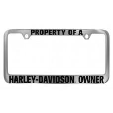 """License Frame--""""Property Of A """" Top , """"Harley-Davidson(R) Owner""""/Bottom."""