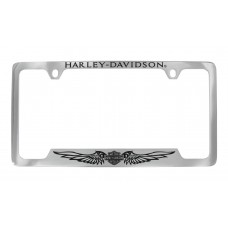 Chrome License Frame-Hd/ Top, B&S With Wings/Bottom
