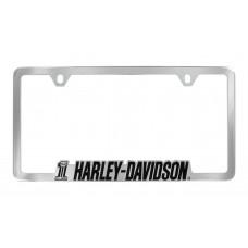 Chrome License Frame--# 1 Harley-Davidson Contour Die-Cast Frame.