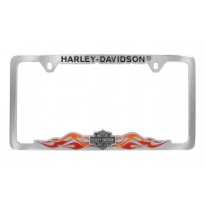 Chrome License Frame- With 3d B&S & 2 Color Flames