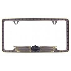 Antiqued Bronze License Frame - 3d B&S Wings