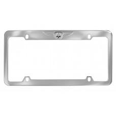 Ez -Chrome Skull & Wings /Top Rim Of Chrome Zinc License Frame.