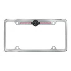 Pink B&S Crystal Frame - With Top Hd - B&S Emblem Strip