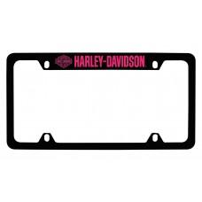 """4 Holes Black Frame With Pink Lettering - Top """"Hd Logo"""" & """"Harley-Davidson"""""""