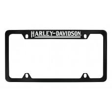 "4 Holes Black License Frame - Top Rotary Engraved ""Harley-Davidson"""
