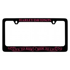 """2 Holes Black Frame With Pink Lettering - Top """"Hd"""",Bottom """" Live To Ride,Ride To Live"""""""