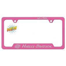 License Frame - Pink Exposed Chrome-Style In Motion,Tilted B&S,Hd